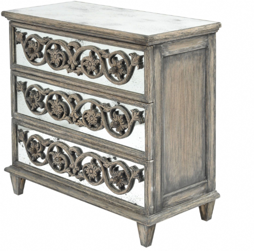 Roxborough Mindi Wooden Mirrored Three Chest Drawer